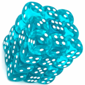 Teal & White Translucent 12mm D6 Dice Block